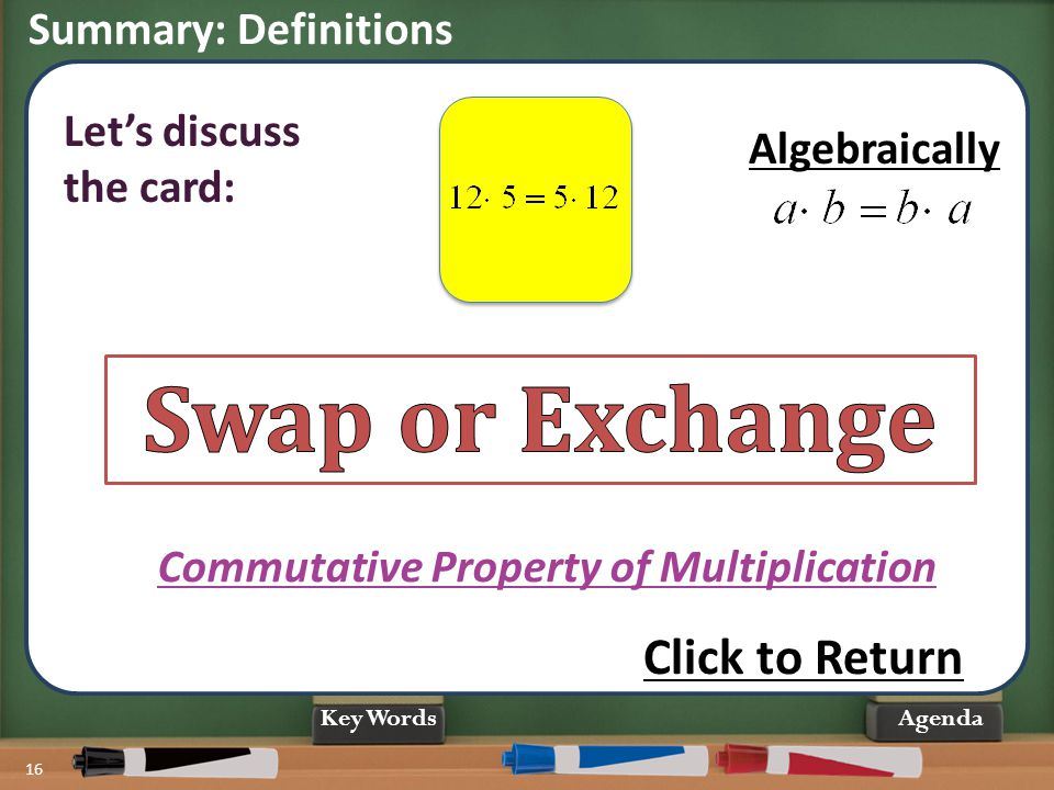 Summary: Definitions 16 Agenda Commutative Property of Multiplication Changing the order of the numbers does not change the PRODUCT. Let's discuss the