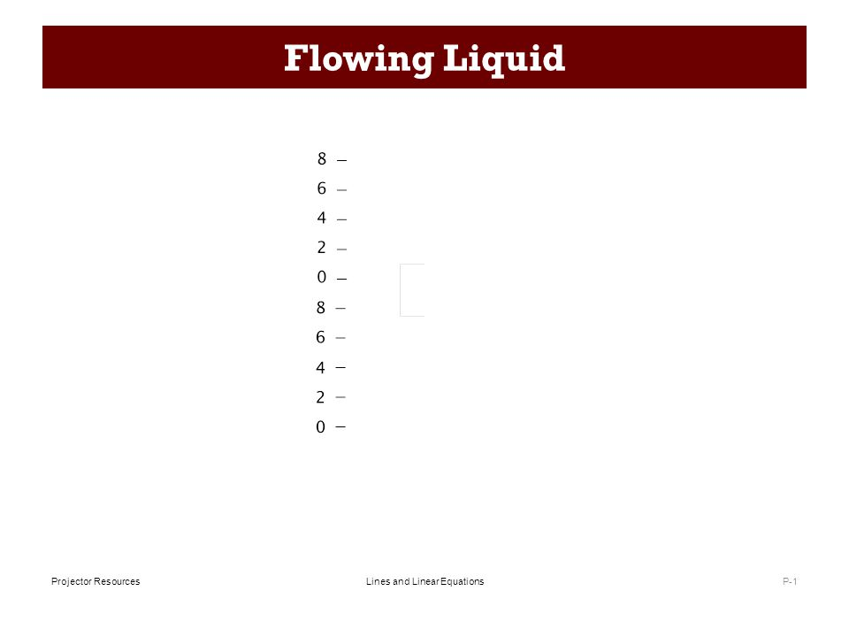 Lines and Linear EquationsProjector Resources Flowing Liquid P-1
