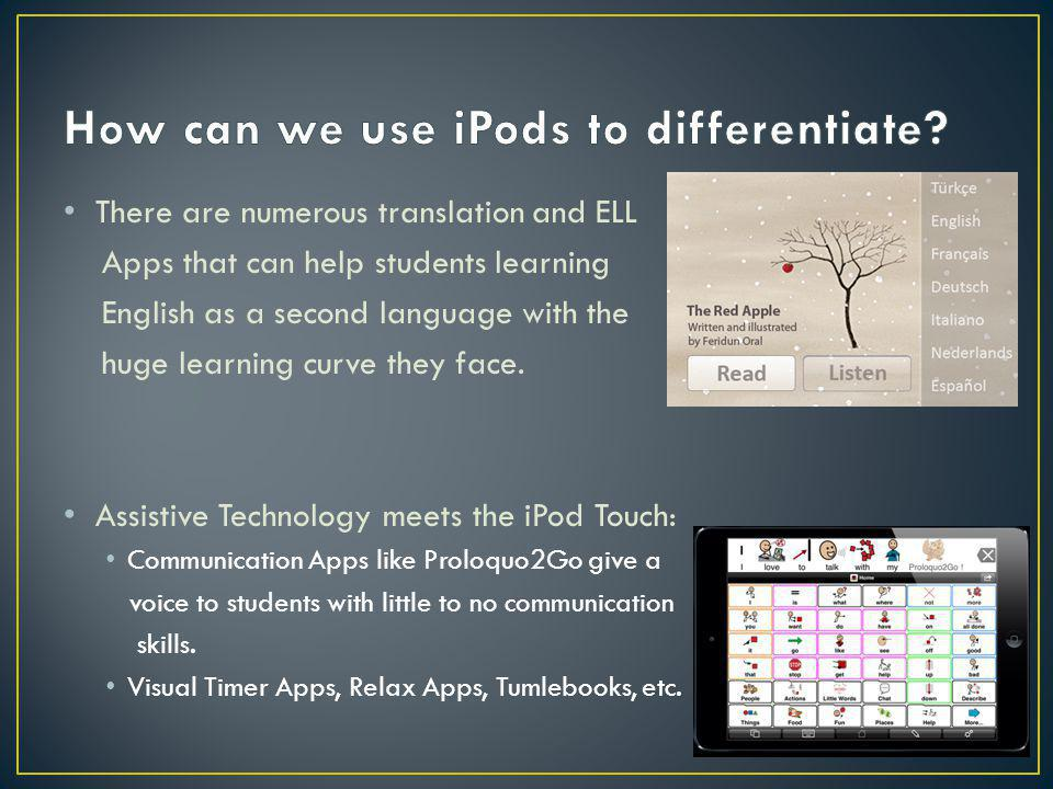 There are numerous translation and ELL Apps that can help students learning English as a second language with the huge learning curve they face. Assis