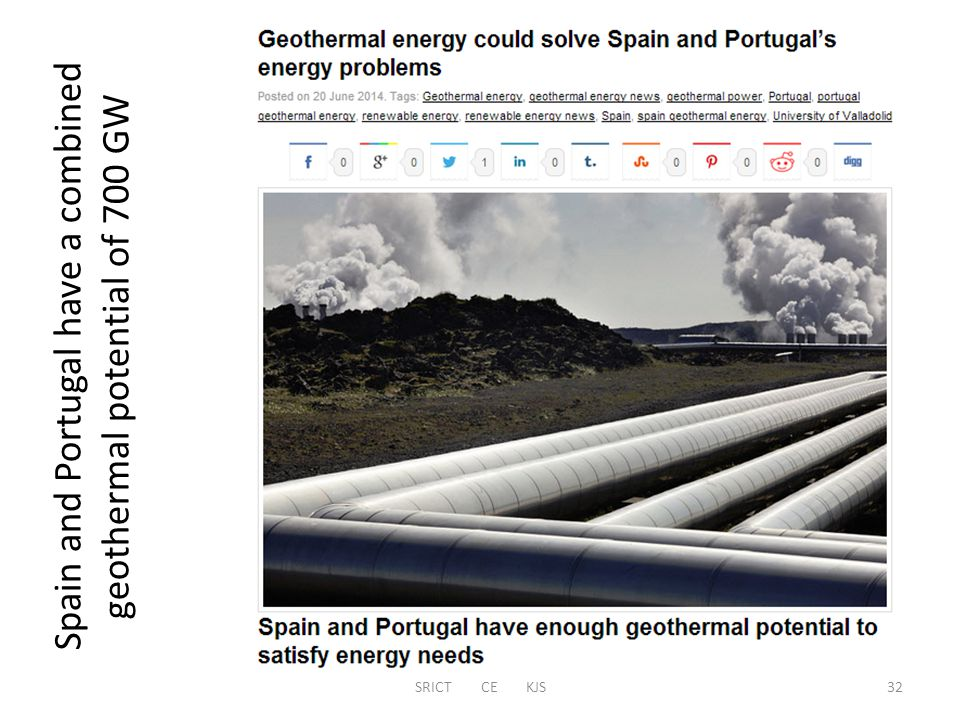 SRICT CE KJS Spain and Portugal have a combined geothermal potential of 700 GW 32
