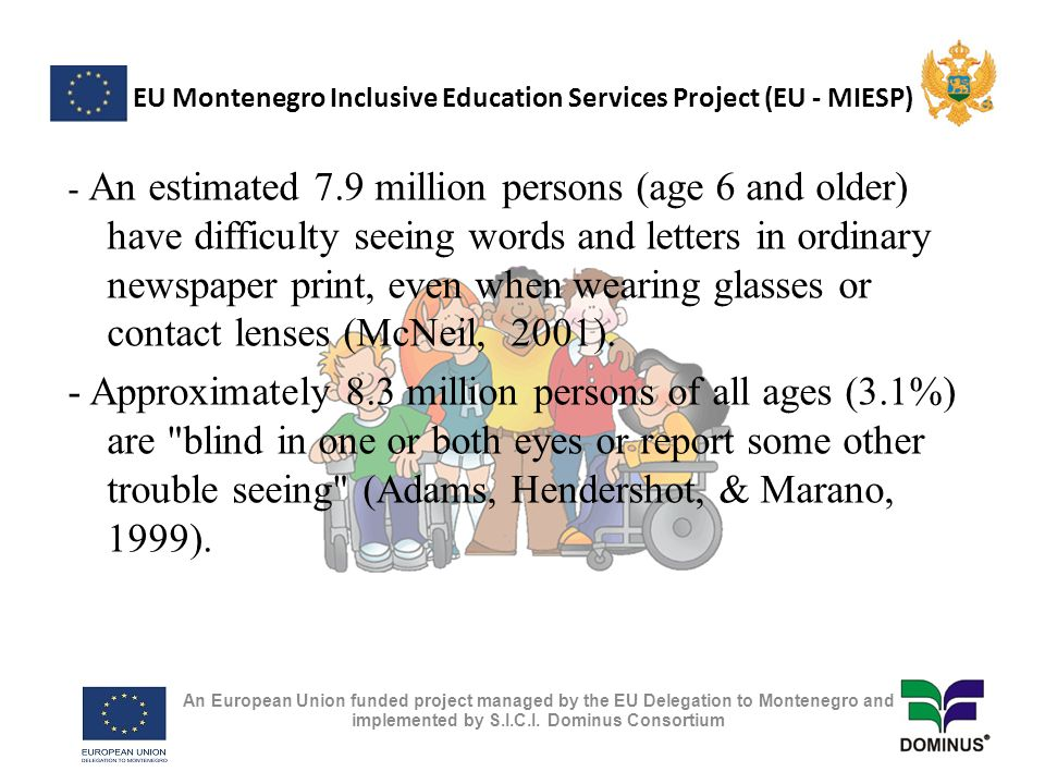 EU Montenegro Inclusive Education Services Project (EU - MIESP) Resource Center is dedicated to the idea that blind/visually impaired children can grow up to become productive, fully functioning, independent members of society.