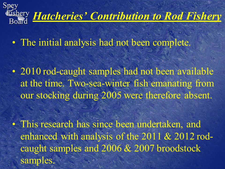 Hatcheries' Contribution to Rod Fishery The initial analysis had not been complete.