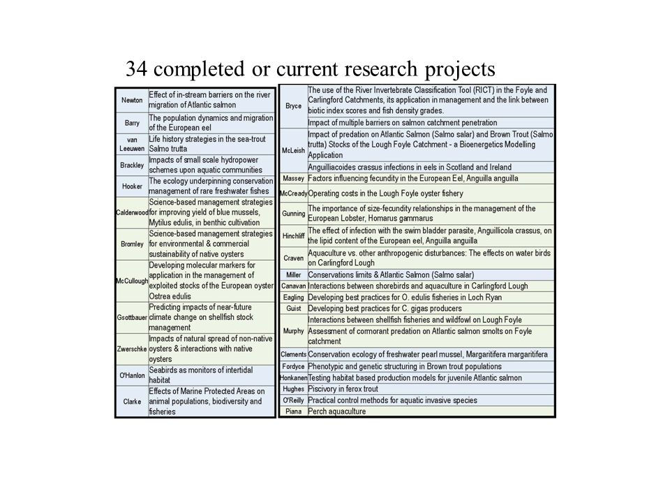 34 completed or current research projects