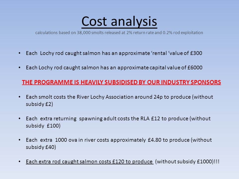 Cost analysis calculations based on 38,000 smolts released at 2% return rate and 0.2% rod exploitation Each Lochy rod caught salmon has an approximate