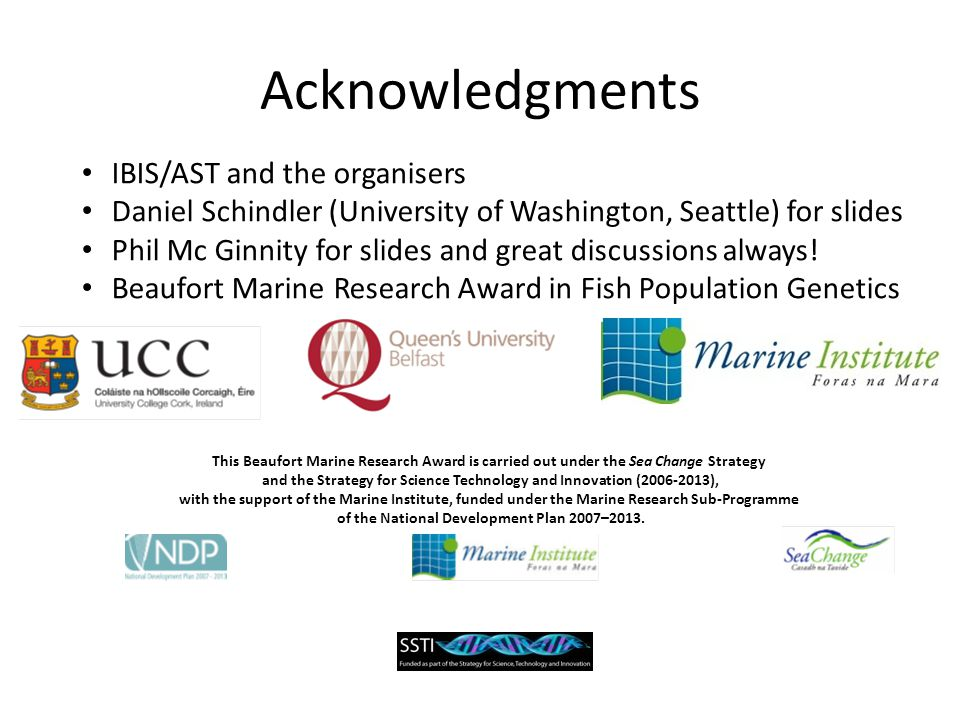 Acknowledgments IBIS/AST and the organisers Daniel Schindler (University of Washington, Seattle) for slides Phil Mc Ginnity for slides and great discu
