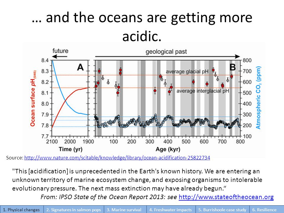 … and the oceans are getting more acidic.