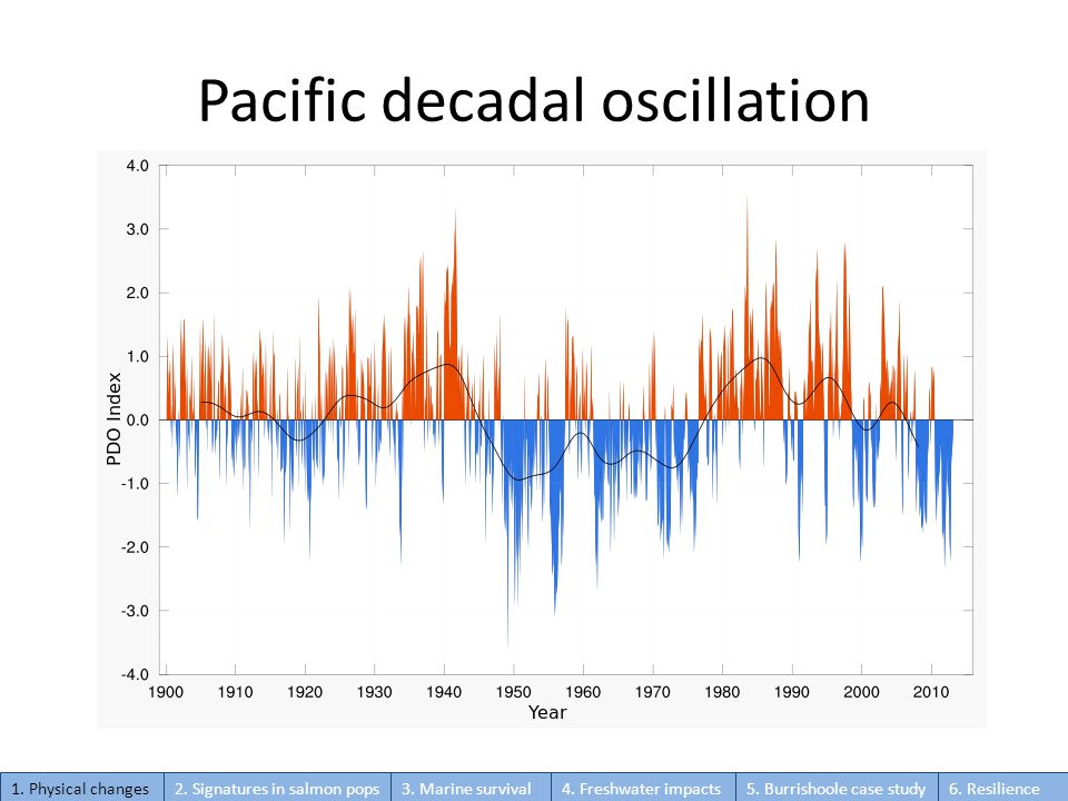 Pacific decadal oscillation 1.Physical changes2. Signatures in salmon pops3.