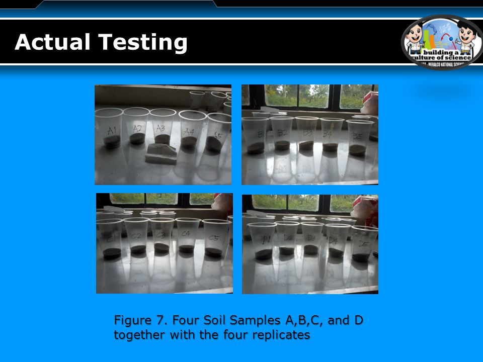 LOGO Actual Testing Figure 7. Four Soil Samples A,B,C, and D together with the four replicates