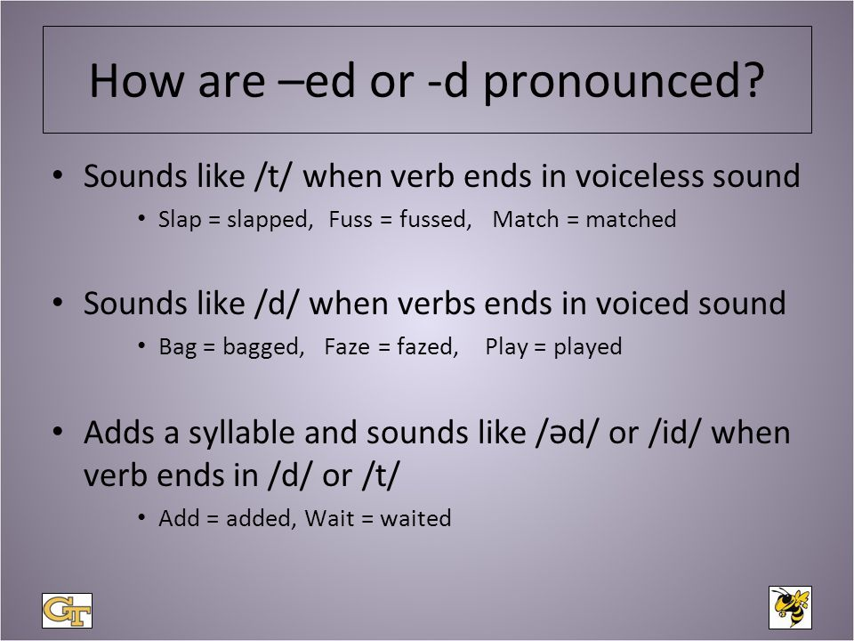 Voiced consonants Voiceless consonant Sounds Sounds b p d t g k v f z s th th sz sh j ch l h m n ng r w y