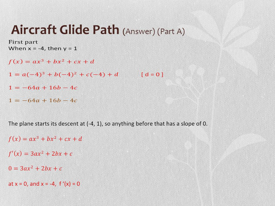 Aircraft Glide Path (Answer) (Part A)