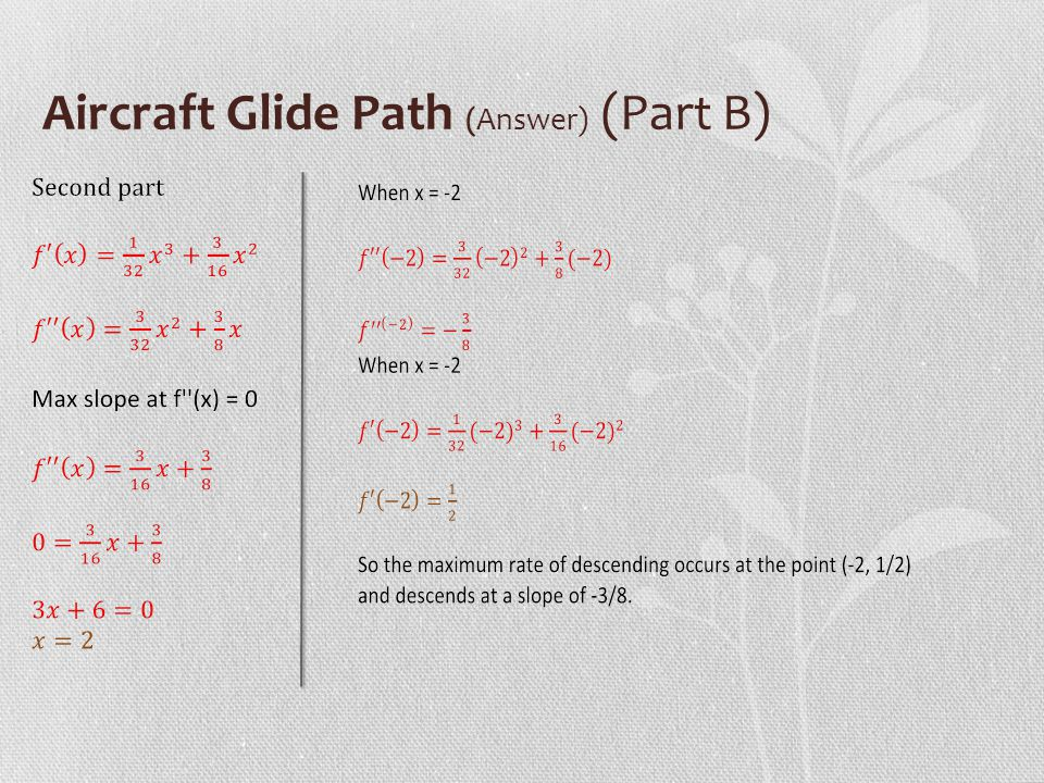 Aircraft Glide Path (Answer) (Part B)