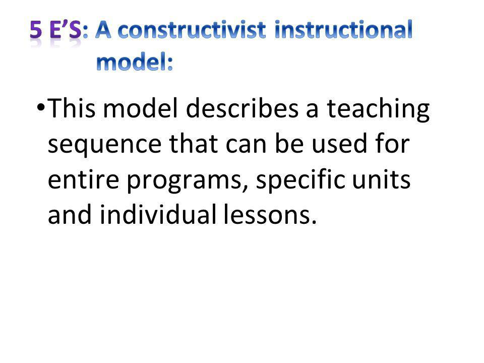 This model describes a teaching sequence that can be used for entire programs, specific units and individual lessons.