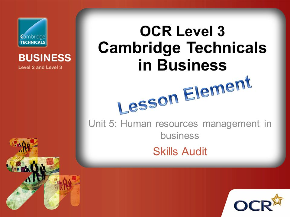 OCR Level 3 Cambridge Technicals in Business Unit 5: Human resources management in business Skills Audit