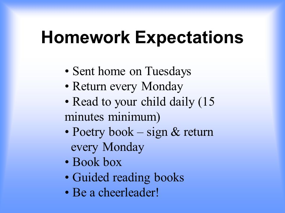 Homework Expectations Sent home on Tuesdays Return every Monday Read to your child daily (15 minutes minimum) Poetry book – sign & return every Monday Book box Guided reading books Be a cheerleader!