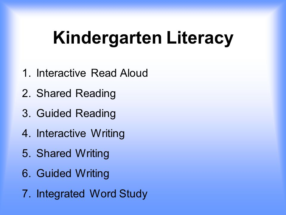 Kindergarten Literacy 1. Interactive Read Aloud 2.