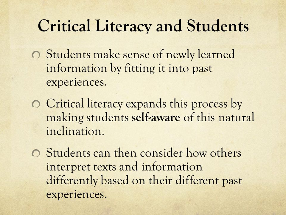 Students make sense of newly learned information by fitting it into past experiences.