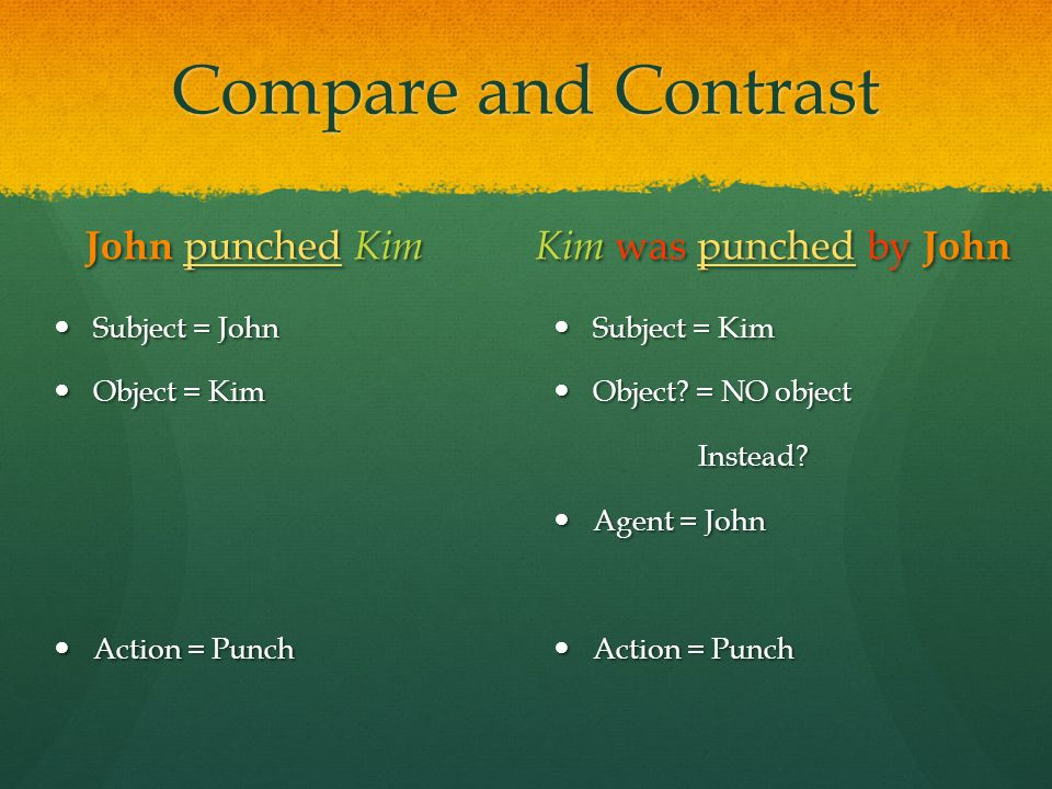 Compare and Contrast John punched Kim Subject = John Object = Kim Action = Punch Kim was punched by John Subject = Kim Object? = NO object Instead? Ag