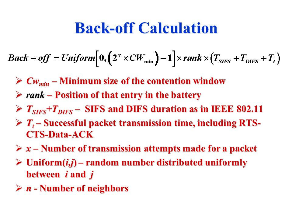Back-off Calculation  Cw min – Minimum size of the contention window  rank – Position of that entry in the battery  T SIFS +T DIFS – SIFS and DIFS