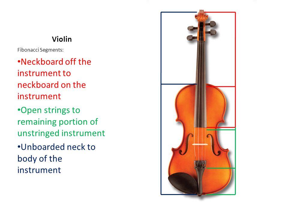 Violin Fibonacci Segments: Neckboard off the instrument to neckboard on the instrument Open strings to remaining portion of unstringed instrument Unboarded neck to body of the instrument