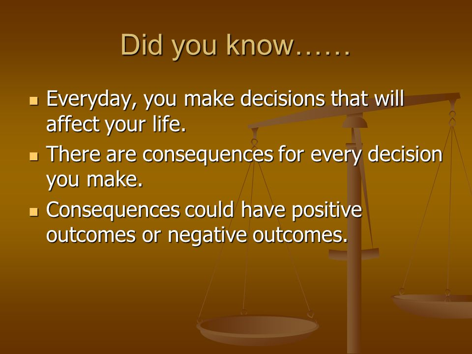 ??.Have you made any decisions that have affected you today.