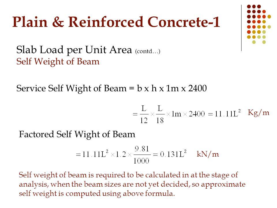 Plain & Reinforced Concrete-1 Slab Load per Unit Area (contd…) Self Weight of Beam Service Self Wight of Beam = b x h x 1m x 2400 Kg/m Factored Self W
