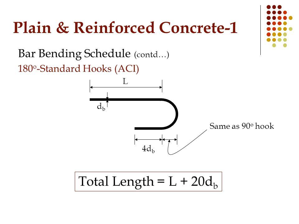 Plain & Reinforced Concrete-1 Bar Bending Schedule (contd…) 180 o -Standard Hooks (ACI) dbdb L Total Length = L + 20d b 4d b Same as 90 o hook