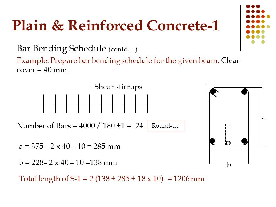 Plain & Reinforced Concrete-1 Bar Bending Schedule (contd…) Example: Prepare bar bending schedule for the given beam. Clear cover = 40 mm Number of Ba