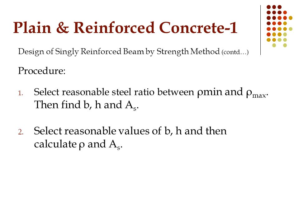 Plain & Reinforced Concrete-1 Design of Singly Reinforced Beam by Strength Method (contd…) Procedure: 1.