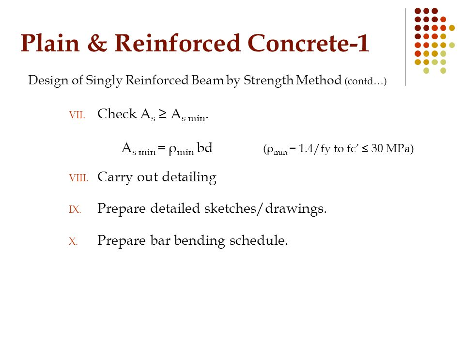 Plain & Reinforced Concrete-1 Design of Singly Reinforced Beam by Strength Method (contd…) VII.