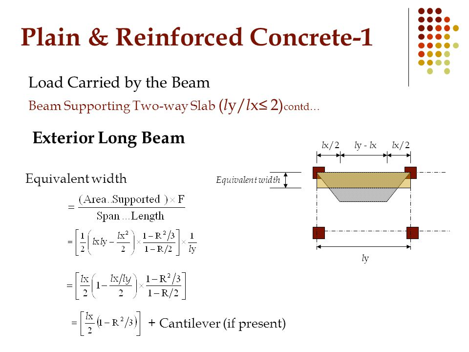 Plain & Reinforced Concrete-1 Load Carried by the Beam Beam Supporting Two-way Slab ( l y/ l x≤ 2) contd… Exterior Long Beam Equivalent width l x/2 l y - l x Equivalent width lyly + Cantilever (if present)