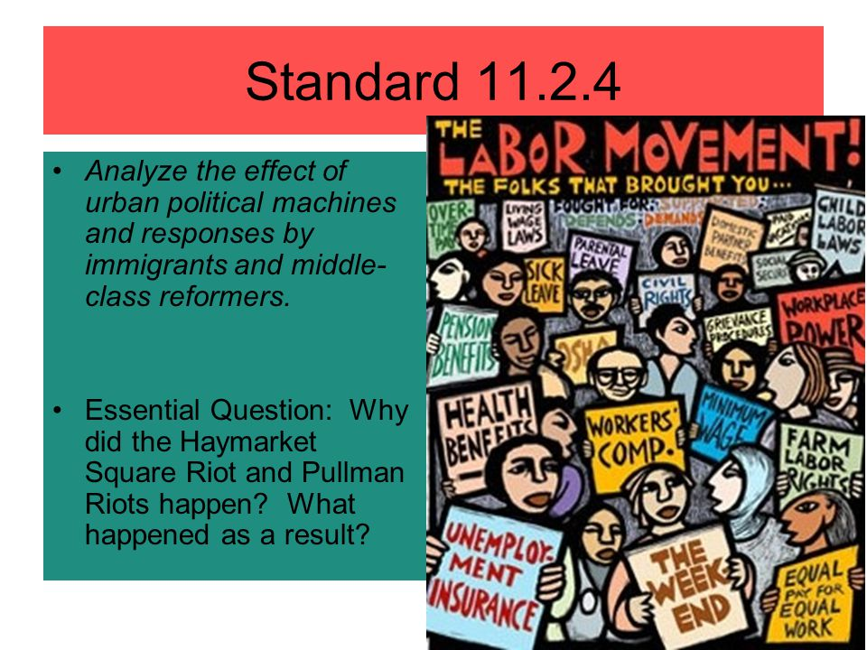 Standard 11.2.4 Analyze the effect of urban political machines and responses by immigrants and middle- class reformers. Essential Question: Why did th