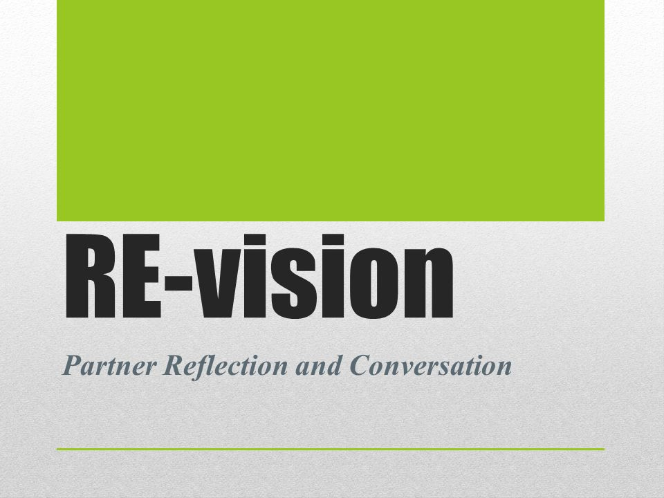 RE-vision Partner Reflection and Conversation