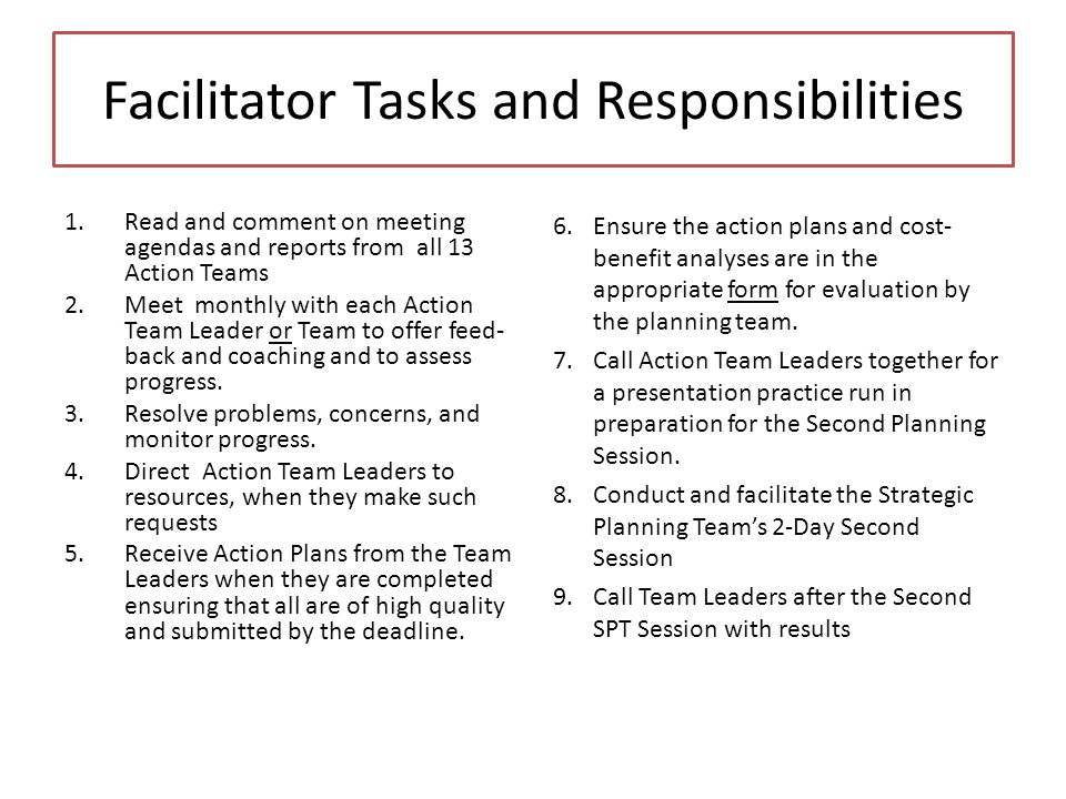 Facilitator Tasks and Responsibilities 1.Read and comment on meeting agendas and reports from all 13 Action Teams 2.Meet monthly with each Action Team Leader or Team to offer feed- back and coaching and to assess progress.