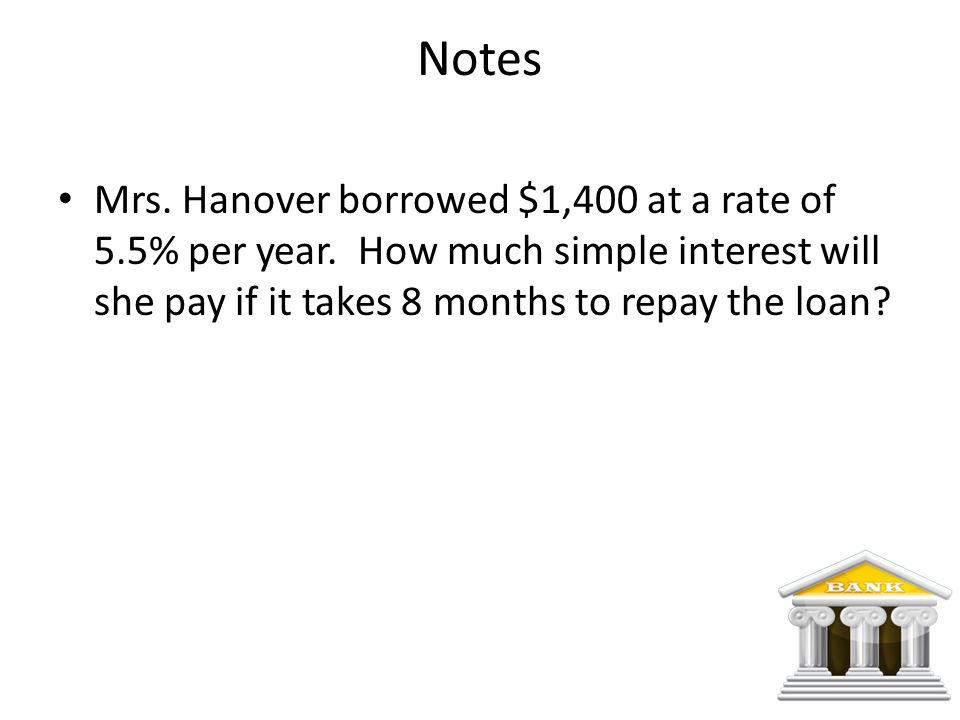Notes Mrs. Hanover borrowed $1,400 at a rate of 5.5% per year.