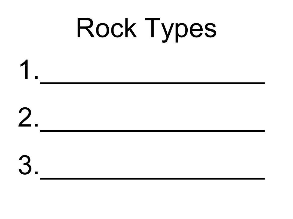 Rock Types 1._______________ 2._______________ 3._______________
