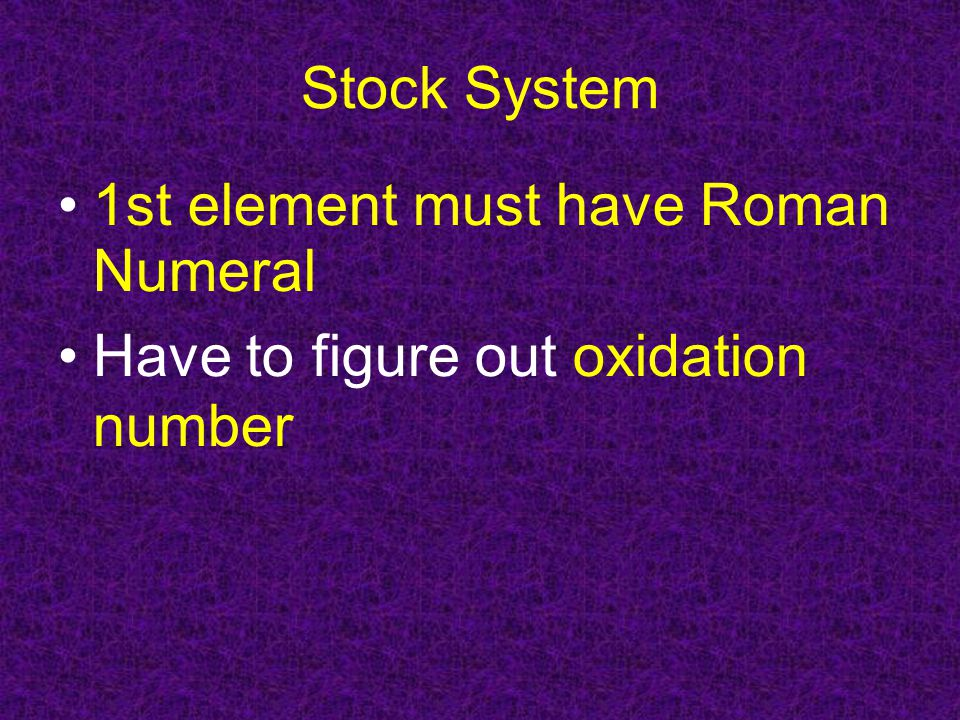 Stock System 1st element must have Roman Numeral Have to figure out oxidation number