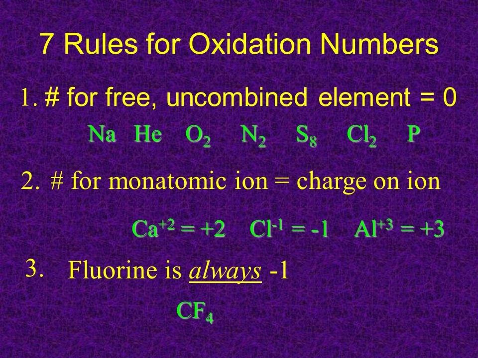 7 Rules for Oxidation Numbers # for free, uncombined element = 0 Na He O 2 N 2 S 8 Cl 2 P # for monatomic ion = charge on ion2.