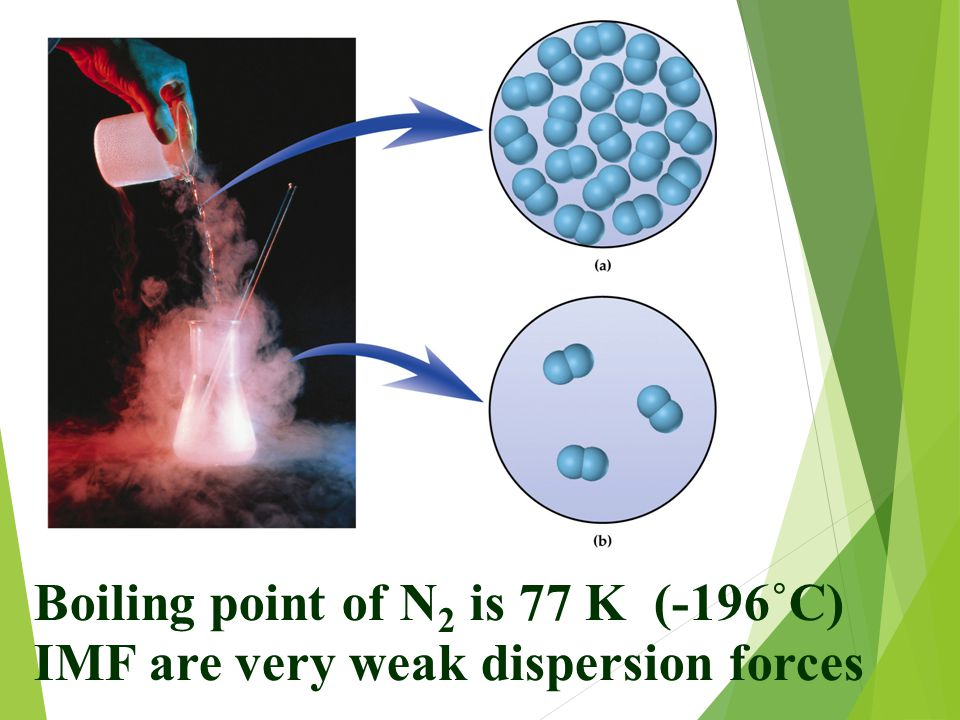 Boiling point of N 2 is 77 K (-196˚C) IMF are very weak dispersion forces