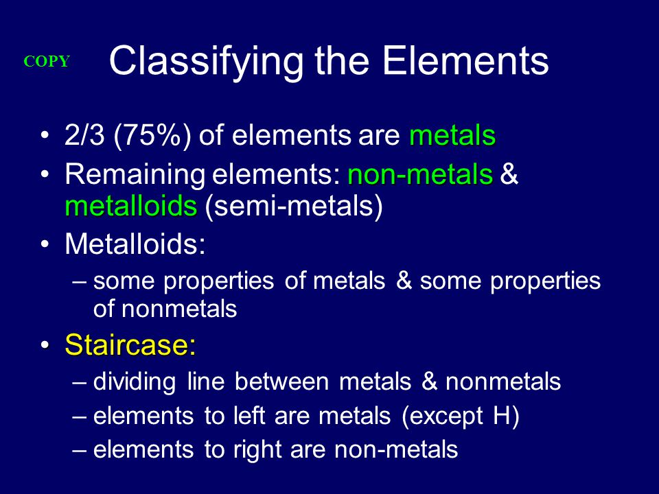 Classifying the Elements metals2/3 (75%) of elements are metals non-metals metalloidsRemaining elements: non-metals & metalloids (semi-metals) Metalloids: –some properties of metals & some properties of nonmetals Staircase:Staircase: –dividing line between metals & nonmetals –elements to left are metals (except H) –elements to right are non-metals COPY