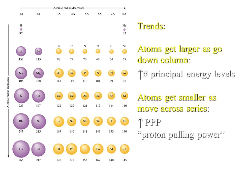"Trends: Atoms get larger as go down column: ↑ # principal energy levels Atoms get smaller as move across series: ↑ PPP ""proton pulling power"""