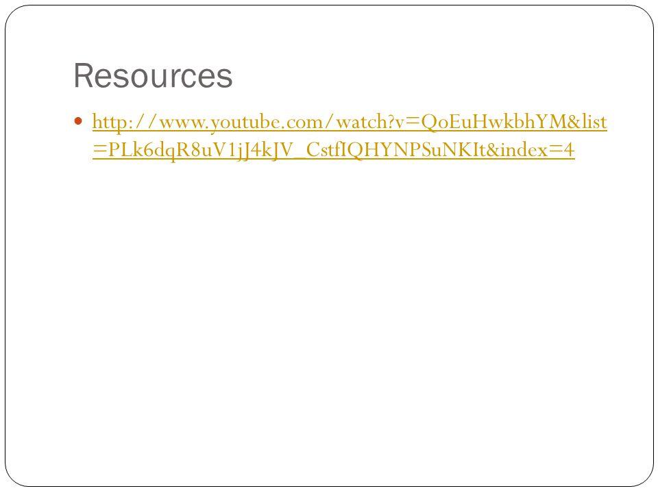 Resources http://www.youtube.com/watch?v=QoEuHwkbhYM&list =PLk6dqR8uV1jJ4kJV_CstfIQHYNPSuNKIt&index=4 http://www.youtube.com/watch?v=QoEuHwkbhYM&list