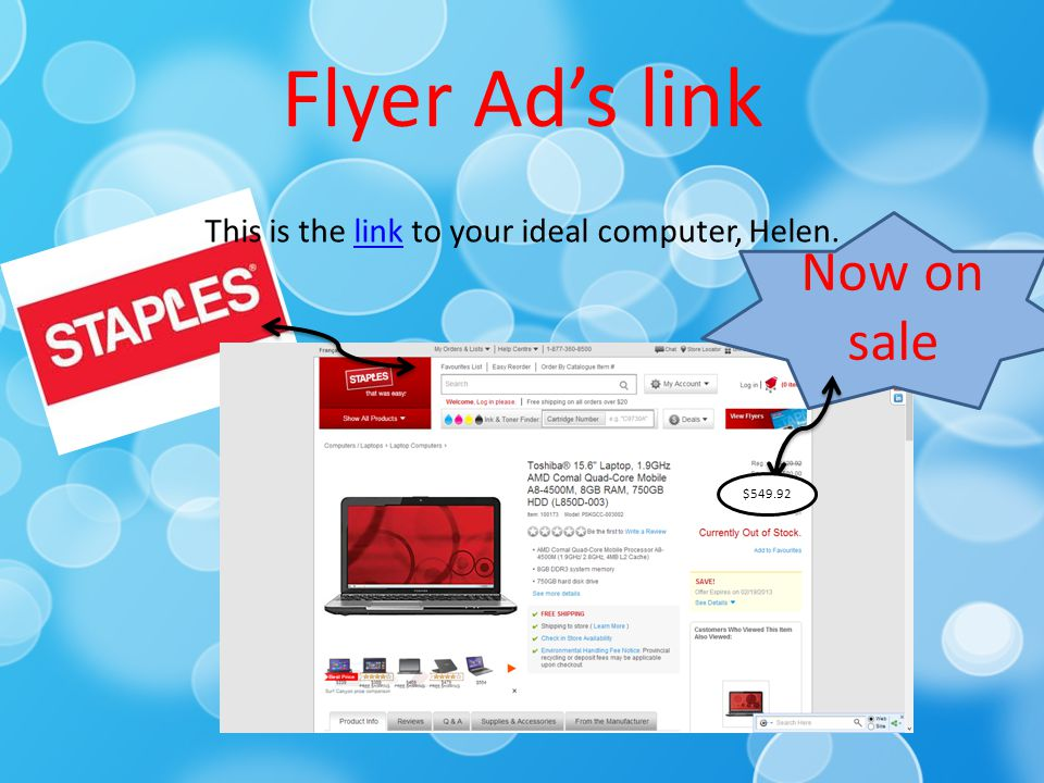 Flyer Ad's link This is the link to your ideal computer, Helen.link Now on sale $549.92