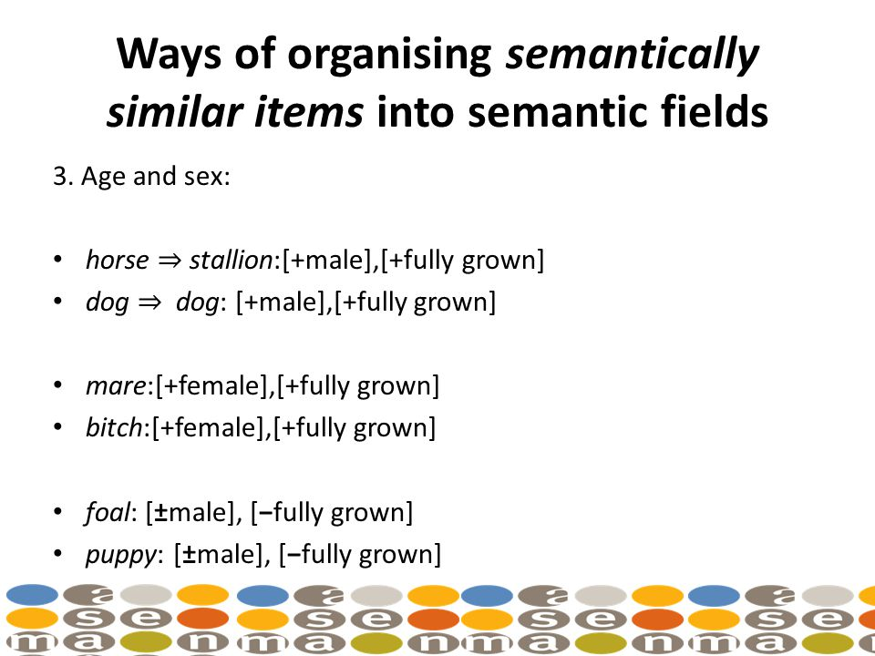 Ways of organising semantically similar items into semantic fields 3.