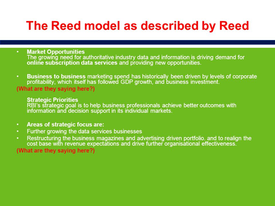 Business model, distribution channels and competition Across the Reed portfolio, user and subscription revenues now account for 62% of the total business with the remaining 38% derived from print and online advertising and lead generation.