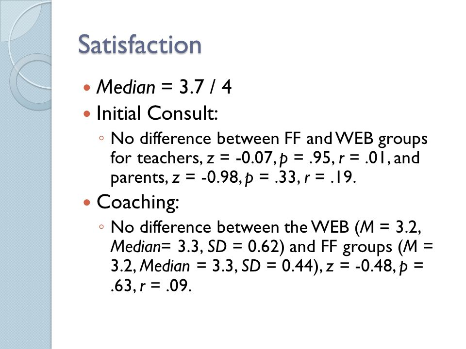 Satisfaction Median = 3.7 / 4 Initial Consult: ◦ No difference between FF and WEB groups for teachers, z = -0.07, p =.95, r =.01, and parents, z = -0.98, p =.33, r =.19.