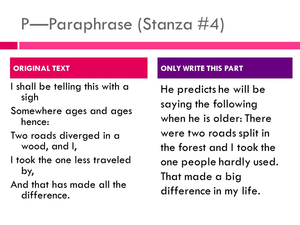 P—Paraphrase (Stanza #4) I shall be telling this with a sigh Somewhere ages and ages hence: Two roads diverged in a wood, and I, I took the one less traveled by, And that has made all the difference.