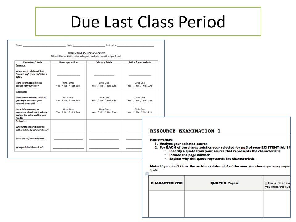 Due Last Class Period
