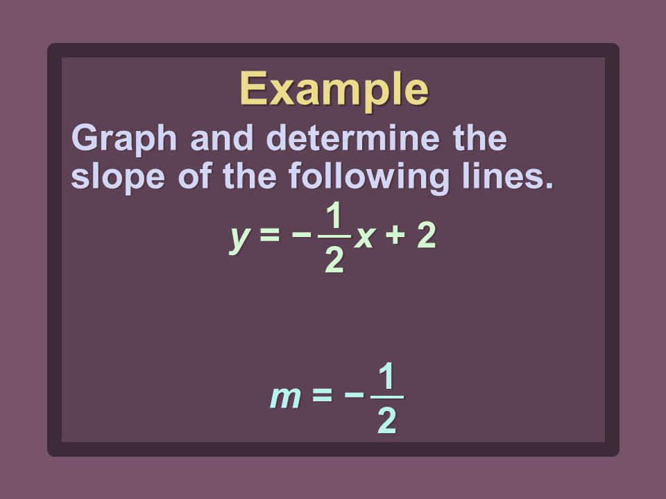 1212 1212 y = − x + 2 Graph and determine the slope of the following lines. m = − 1212 1212 Example