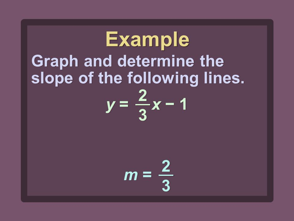 2323 2323 y = x − 1 Graph and determine the slope of the following lines. m = 2323 2323 Example
