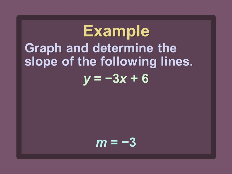 m = −3 Graph and determine the slope of the following lines. y = −3x + 6 Example